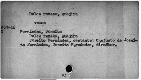 Cuba National Library music card